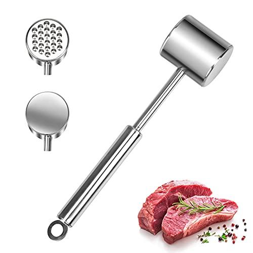 JOOPOM Martillo de Carne de Acero Inoxidable Martillo Ablandador de Carne Mazos de Metal Resistente para Carne con Gancho de Plástico Herramientas de Cocina(26 cm)