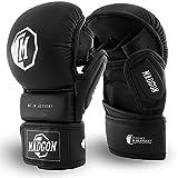 Guantes de Combate Martial para MMA Hechos del Mejor Material para una Larga Durabilidad. Guantes de Boxeo con Acolchado Extra Grueso para Sparring, Artes Marciales, Boxeo, Kickboxing, MMA.
