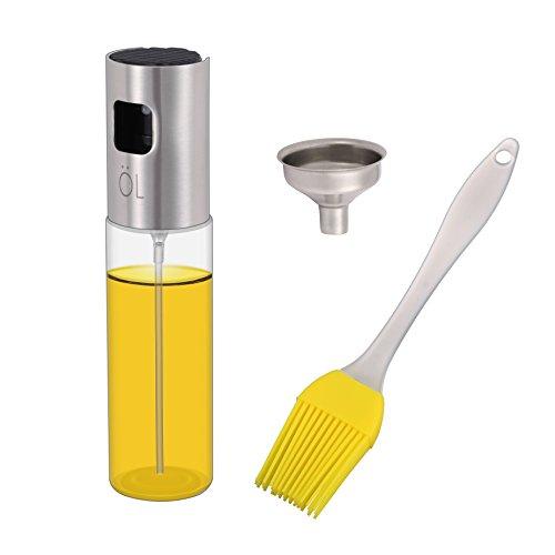 KWOKWEI Öl Sprühflasche, 100ml Sprayer Ölspender aus Edelstahl und Glas, Öl Auslöser/Olivenöl Glasflasche mit Bürste, Transparent Ölsprüher/Öl-Sprayer Spender mit Trichter für BBQ, Kochen, Grillen