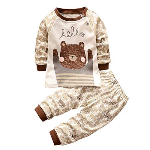 K-youth Ropa Beb Nio Otoo Invierno Infantil Recien Nacido Camisas de Manga Larga Nios Ropa Conjunto Lindo Tops de Dibujos Animados Grizzly + Pantalones Trajes Conjunto Nio(Marrn, 0-6 Meses)