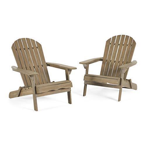 Milan Brown Outdoor Folding Wood Adirondack Chair (Set of 2)
