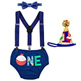 Baby Boys Cake Smash Outfits Wild One Crown for 1st 2nd Birthday Party 4PCS Shorts Bowtie Suspenders Headbands Clothes Fishing-Royal Blue 18-24 Months