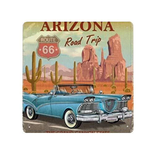 Cartel de viaje por carretera de Arizona Vintage cartel de cartel de pared de hojalata pared de Metal de hierro decoración de pared de aluminio placa decoración Cafe Bar 30x30cm