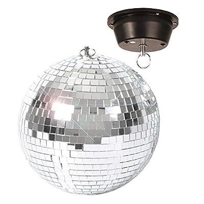 "BeamZ MB20M Silver Mirror Ball with Motor, Lightweight Glass Hanging 8"" 20cm Wedding DJ Prom Disco Dance Party Glitter Ball"