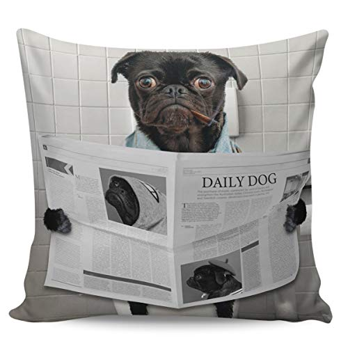 Winter Rangers Decorative Throw Pillow Covers- Pug Dog Sitting on the Toilet Reading Newspaper Ultra Soft Pillowcase Comfy Square Cushion Cover Case for Sofa Bedroom, 26' x 26'
