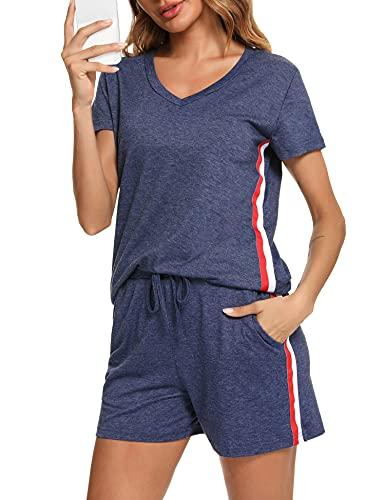 Sykooria Jogginganzug Damen Baumwolle Sportanzug Kurz Trainingsanzug Sommer Loose Freizeitanzug 2-teiliges mit Taschen und Bund Hausanzug V-Ausschnitt T-Shirt und Shorts für Jogging Laufen Marine L