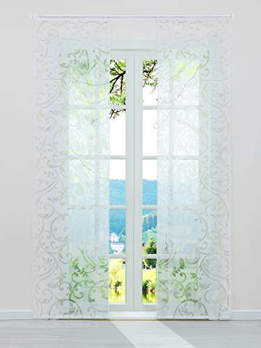ESLIR Schiebegardinen Ausbrenner Flächenvorhänge Set 2er Gardinen mit Klettband Schiebevorhang Transparent Vorhang Weiß BxH 57x225cm 2 Stück
