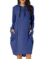 KIDSFORM Women's Long Hoodies Sweatshirt Pullovers Ladies Long Sleeve Plain Hooded Jumper Dresses Loose Hoodies Long Tops with Pocket Hoodie-Blue Size 2XL/UK 20 #1