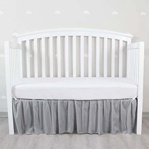 Grey Crib Skirt Four Fabric Sides Elastic Wrap Around Dust Ruffled Solid Bed Skirts Easy On/Easy Off, Bedding Dust Ruffle for Baby Girls and Baby Boys, Fit All Standard Crib Bed,Grey, Microfiber