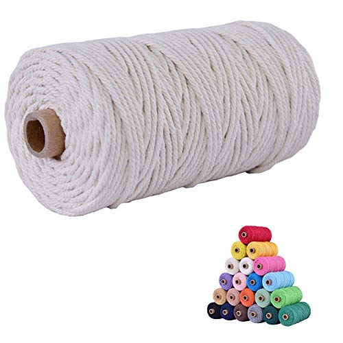 flipped 100% Natural Macrame Cotton Cord,3mm x109 Yard Twine String Cord Colored Cotton Rope Craft Cord for DIY Crafts Knitting Plant Hangers Christmas Wedding D
