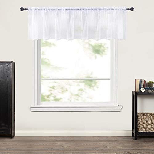MIULEE Window Valance Half Window Sheer Curtains Rod Pocket Voile Drapes Extra Wide for Small Window Kitchen Cafe One Panel 60 x 18 Inch White