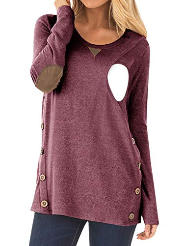 CzzzyL Button Breastfeeding Tunic for Women, Juniors Breathable Cotton Long Sleeve Nursing Nightgowns Top Scoop Neck Elbow Patchwork Breastfeeding Blouses(Red,Large)