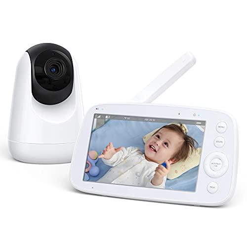 Monitor per Bambini, Monitor Video per Bambini con Display LCD e Allarme Visivo e Sonoro, Comunicazione a Due Vie, Zoom con Un Tasto, Auto-Pilota, Visione Notturna, Ampia Batteria da 4500 mAH