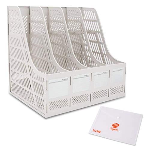 KXF Schreibtisch-Ordner, 4 Abschnitte, stabil, Kunststoff, Zeitschriftenhalter, Rahmen, Ordnerregal, Ablage und Aufbewahrung für Schule, Büro, Papier