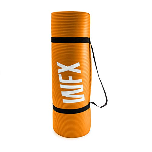 World Fitness Yamuna Gymnastikmatte rutschfest - 183 x 61 x 1,5 cm - inkl. Tragegurt - weiche Oberfläche - Ideale Fitnessmatte für Yoga, Pilates & Workout - Orange