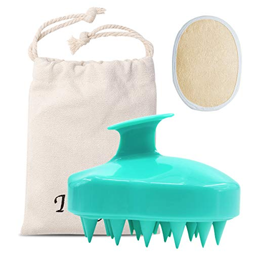 Ithyes Shampoo Brush Silicon Scalp Massager Hair Brush Wet Dry Comb Head Rubber Care Improve Blood Circulation for Men,Women Pets, Exfoliating Loofah Pad (Green)
