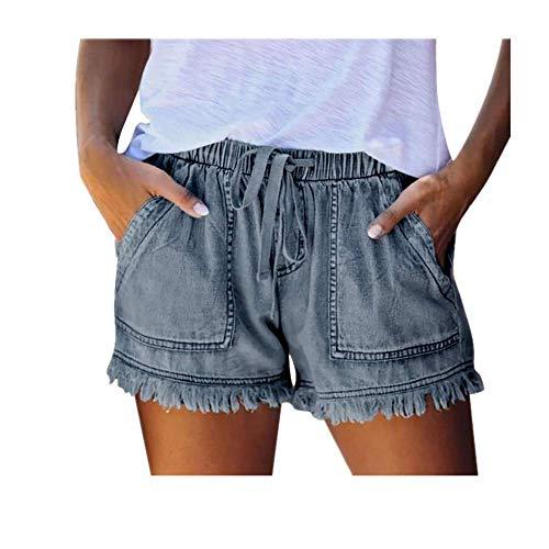 N\P Pantalones vaqueros de bolsillo para mujer, pantalones de mezclilla para mujer, parte inferior del vendaje, pantalones cortos casuales de verano, ropa de hogar para señoras - azul - X-Small