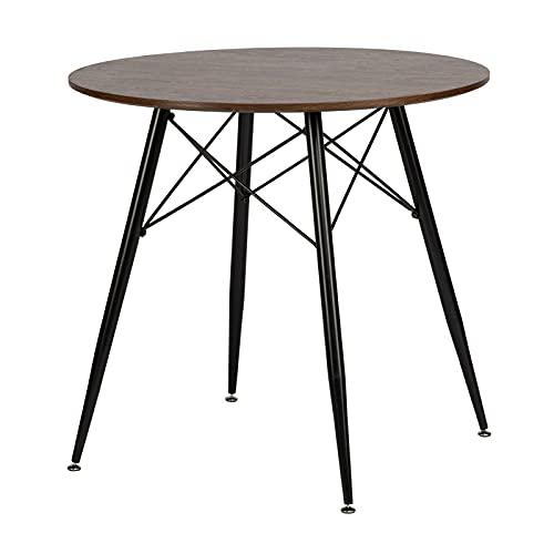 IPOTIUS Moderno Tavolo da Pranzo in Rotondo per 2-4 Persone, Tavolo da Cucina, Gambe in Metallo Nero e Doghe in Metallo, 80 x 74.5 cm Noce