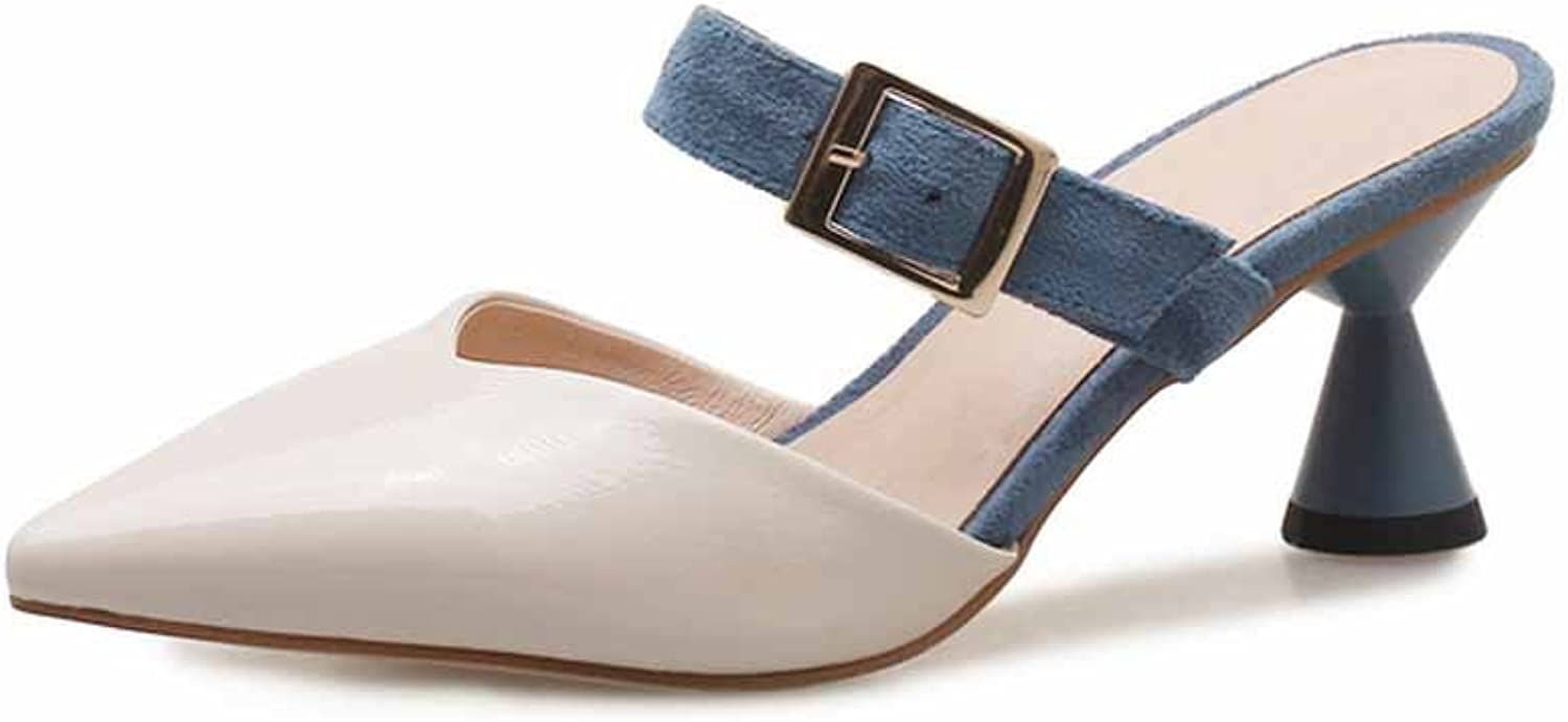 Women Pointed Sandals 2018 Summer Small Fresh Fashion Buckle High Heel Mules Size EU 32-43