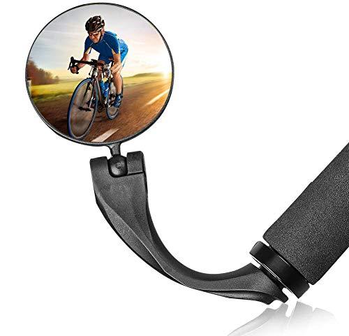 KKSJK 1 STÜCKE 360°Drehbar Fahrradspiegel Rückspiegel, Lenkerspiegel Weitwinkelobjektiv, Robust und Langlebig Rückspiegel für 17.4-22mm, Fahrradlenker End Spiegel für Ebike Rennräder Mountainbikes