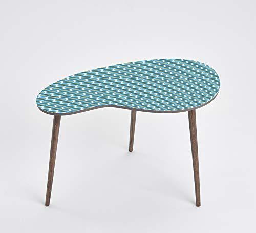Queence Mesa de diseño, mesa auxiliar, mesa de centro, diseño retro, forma de riñón, mesa de café, mesa para teléfono, tamaño: 60 x 40 cm, color: azul/verde/formas