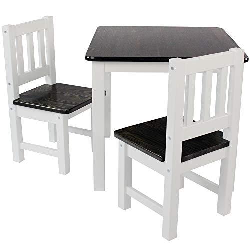 DILUMA Kindersitzgruppe 3-TLG - Kindertisch mit 2 Stühlen in Natur Weiß - Kinderzimmer Möbel für Kleinkinder, Mädchen & Jungen - Kindertischgruppe mit abgerundeten Ecken und Kanten
