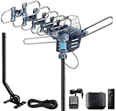 CeKay Digital Outdoor Amplified HD TV Antenna Motorized 360 Degree Rotation 150 Miles with 40FT RG6 Coax Cable and Mounting Pole Snap-On Installation - UHF/VHF/1080P/4K