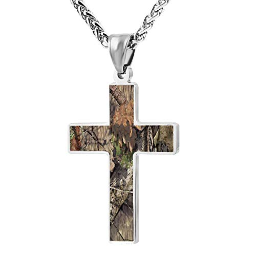 Oak Moss Camouflage Print Cross Necklace for Christian Black Zinc Alloy, 24 Inches