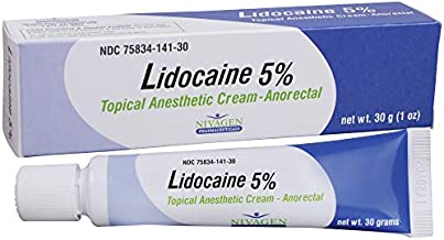 Lidocaine 5% Anorectal Cream | for Hemorrhoid Relief from Pain, Itching, Burning | 30 Gram Tube Lidocaine 5% Cream (No Cots)