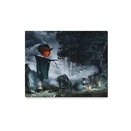 JOCHUAN Wandkunst Malerei Halloween Landschaft Grabsteine Kerzen Vogelscheuche Drucke Auf Leinwand Das Bild Landschaft Bilder Öl Für Zuhause Moderne Dekoration Druck Dekor Für Wohnzimmer