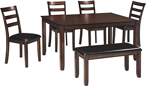 Signature Design by Ashley - Coviar Dining Room Table and Chairs with Bench - Set of 6 - Brown