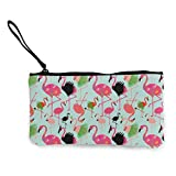 Flyup Black Swan Flamingo Multifunctional Portable Canvas Coin Purse Phone Pouch Cosmetic Bag,Zippered Wristlets Bag Monedero