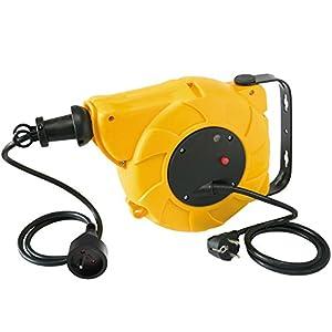 Electraline 209000011- Enrollacables automático de pared, 4enchufes, interruptor térmico, cable 3G1mm², 16A, 15m, color amarillo y negro