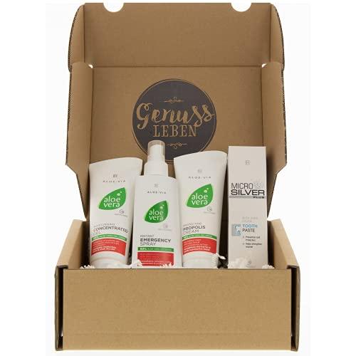 Genussleben Box mit LR Aloe Vera Concentrat Gel 100ml, Emergency Spray XXl 400ml, Propolis Creme 100ml und Mircosilver Zahnpasta 75ml