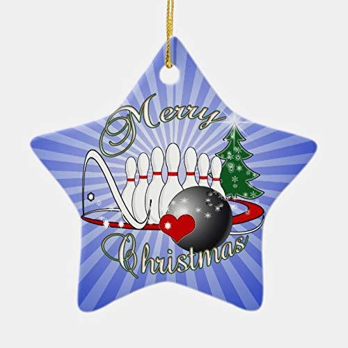 daoyiqi Christmas Tree Ornament, Bowler/Bowling Merry Christmas Ceramic Ornament, 3 Inch Christmas Ornament Pendant for Christmas Tree Decorations Gifts
