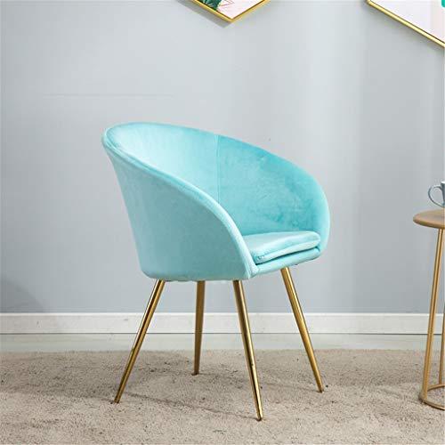JIAJU Mid Century Modern Velvet Dining Side Chair mit Gold Metal Beine Accent Freizeit Gepolsterte Seiten Stühle mit den Armen for Living Zimmer Zimmer Küche (Farbe : Blau)