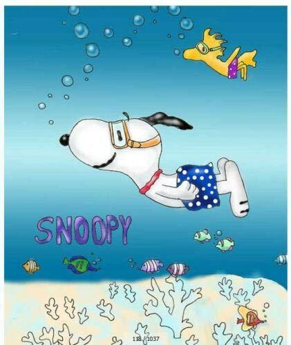 ZHWL6688 Cartoon Snoopy - Duschvorhang aus Stoff für Badezimmer - Wasserdicht Badezimmerzubehör