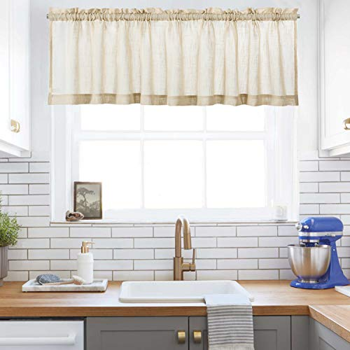 """Taupe Small Curtain Valances Faux Linen Like Window Curtains Rod Pocket for Kitchen/Café & Bathroom (60"""" W x 16"""" L, One Piece)"""