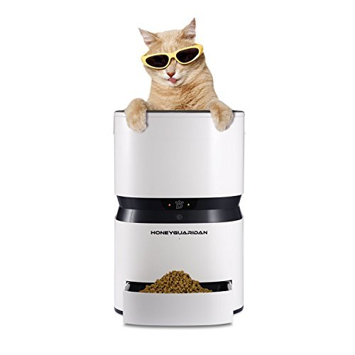 HoneyGuaridan S25 Smart Automatic Pet Feeder, Programmable Timer Portions Food Dispenser with Simple iOS and Android App Control - Designed for Dogs and Cats (white)