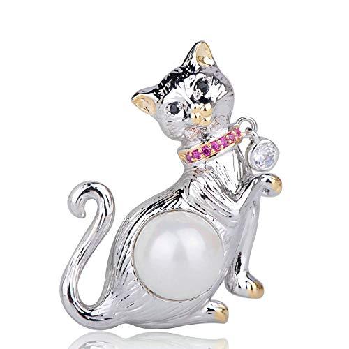 XZROOKEI Perla simulada Elegante Broche de Gato Dos Tonos Rosa Circón Insignia...