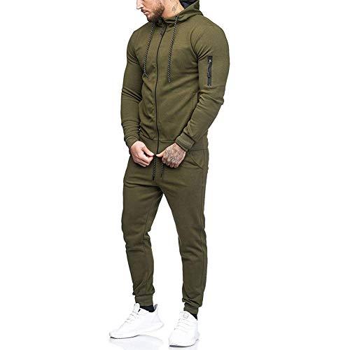 Morbuy Herren Jogging Jacke Hose Anzug Trainingsanzug Sweatshirt Hose Sportanzug (L, Amy grün)