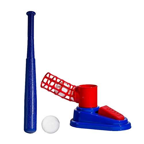 Conjunto de Entrenador de béisbol para niños Juguete de Bola retráctil de plástico Plegable con 1 Bate de béisbol Entrenador de bateo Juvenil, para Principiantes, Juguete para niños