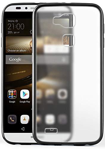 moex® Matte Schutzhülle [Transparent] passend für Huawei Ascend Mate 7 | Inkl. 360° R&umschutz [Raised Lip] + Farblich abgesetzter Rand, Schwarz