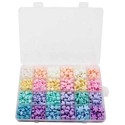 perfeclan Perlas de corazón de acrílico de color caramelo Perlas de estrella Perlas de pastel de plástico surtidas Perlas sueltas lindas a granel para pulseras
