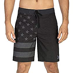in budget affordable Harley Men's Clothing Phantom Cheers USA Flag 20 Swim Shorts, Black A, 32″