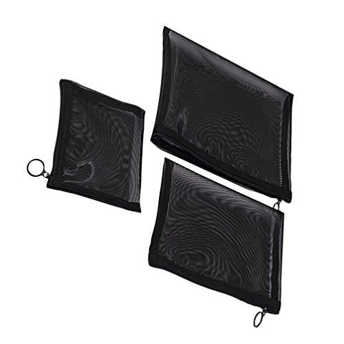 Tendycoco 3 make-up-tassen, net, pennenzak, draagbaar, opbergtas voor cosmeticaproducten, zwart