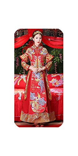 Kleine SU Oude Koninklijke Rode Borduurwerk Chinese Bruid Bruidsjurk Qipao Traditionele Jurk