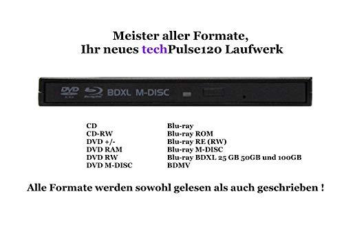 techPulse120 BLU-Ray Lector/Grabadora de BD/CD/DVD Unidad Externa Súper-Slim Portátil con USB 3,0 con 100GB BDXL M-Disc Negro para Mac OS Windows 10/8/7/Vista/SE/98/Linux