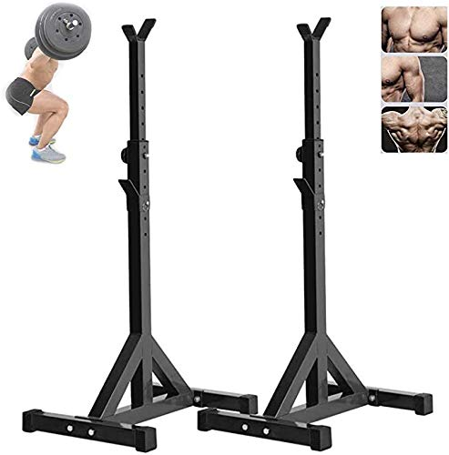 YHM Verstellbarer Squat Rack, Pull Up Bar Squat Rack, Squat Stands Rack Barbell Free Press Bank, Krafttraining Fitness Barbell Schwere Gewichte Bar Barbell Squat Stand Steht Barbell Rack