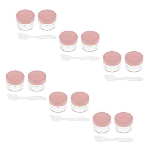yotijar Frascos de Plástico de 12 Piezas con Tapas Envases Cosméticos para Brillo en Polvo de Gel Crema - Rosado